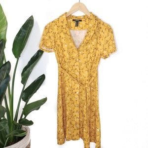 Forever 21 Yellow Floral Short Sleeve Button Dress